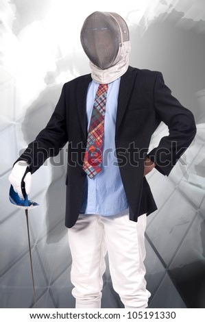 Young male fencer businessman posing - stock photo
