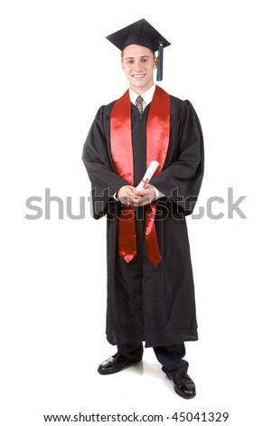 Young male graduate in cap and gown - stock photo