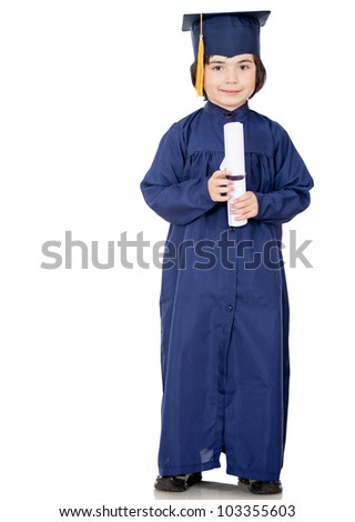 Young male graduate - isolated over a white background