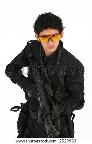 Young male in the uniform of a SAS soldier or police SWAT team