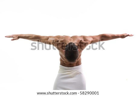 Young male model posing in studio - stock photo