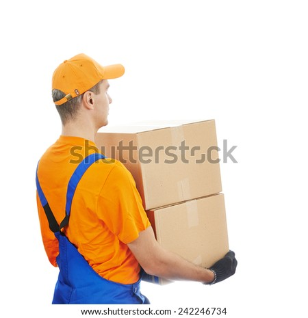 young male postal delivery courier man delivering package cardboard box - stock photo