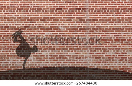 young male skateboarder shadow on red brick wall - stock photo