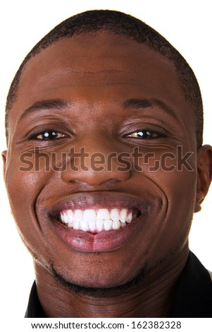 Young male smiling. Closeup. Isolated on white.  - stock photo