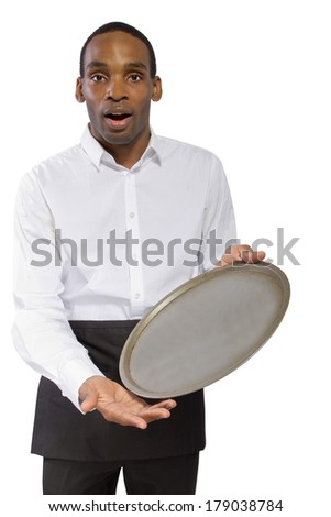 young male waiter dropping a tray and falling forward - stock photo