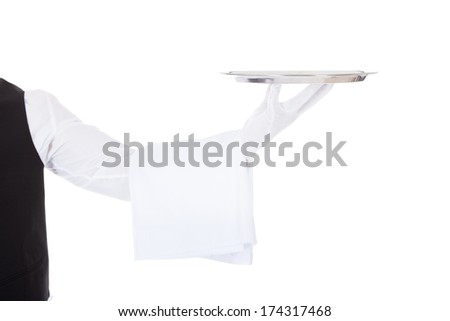 Young Male Waiter Standing With Cloche Lid Cover Over White Background - stock photo