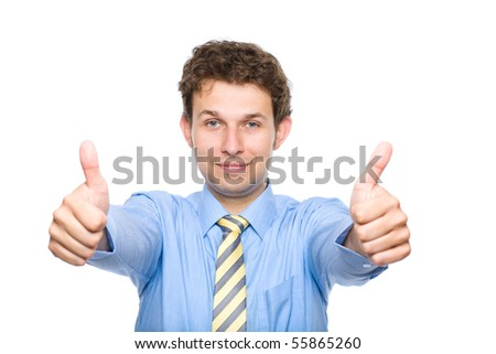 young male wearing blue shirt and yellow necktie shows thumb up gesture, studio shoot isolated on white - stock photo