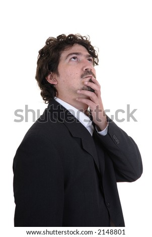 young man adult thinking in a white background - stock photo