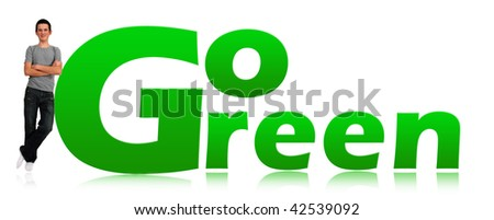 Young man and go green logo