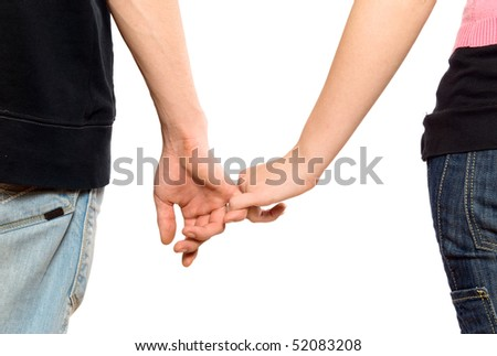 Young man and the girl, keep for hands
