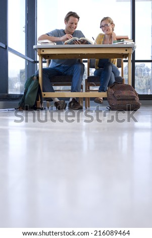 Young man and woman at desk studying, low angle view - stock photo