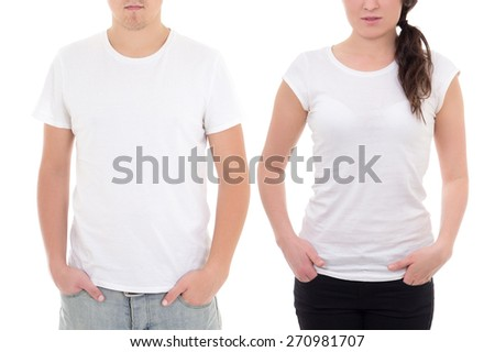 young man and woman in white t-shirts with copy space isolated on white background
