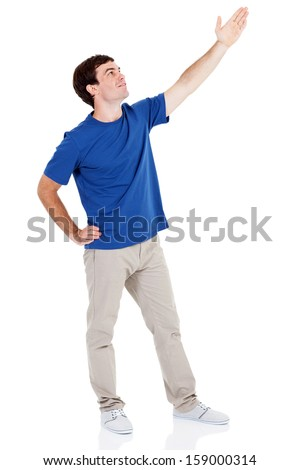 young man arm up on white background - stock photo