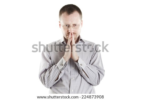 Young man as manager or boss is thinking about decision on white background - stock photo