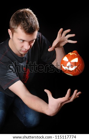 young man at Halloween party. - stock photo