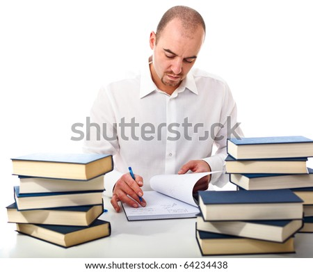 young man at work with lots of book isolated on white