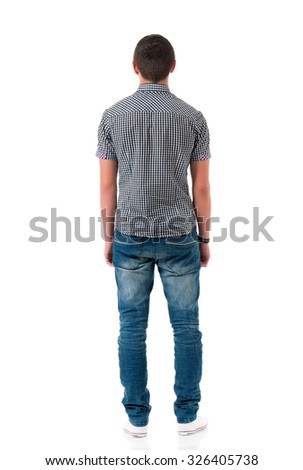 Young man back view, isolated on white background