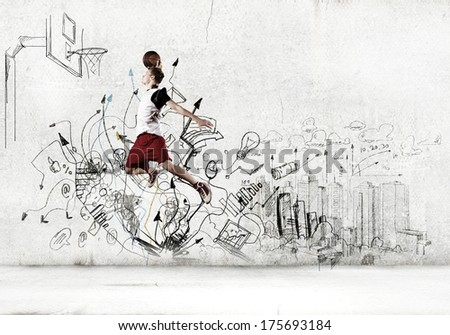 Young man basketball player throwing ball in basket - stock photo