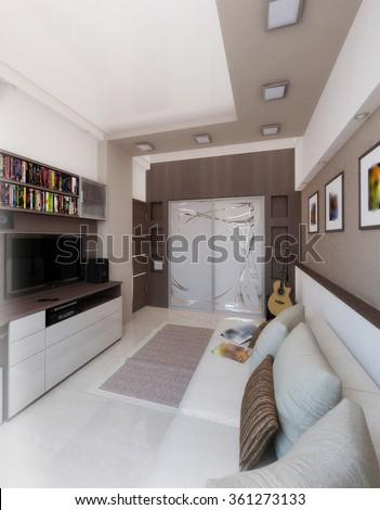 Young Man Bedroom Interior Design Render Stock Illustration ...