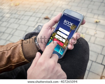 Young man booking hotel with smartphone. Tour reservation. Screen graphics are made up