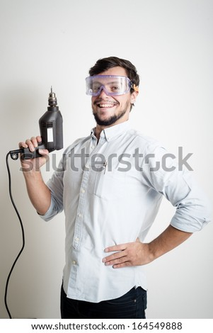young man bricolage working at home - stock photo