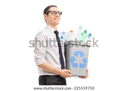 Young man carrying a recycle bin isolated on white background - stock photo
