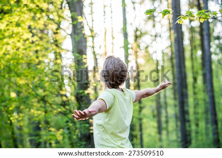 Young man celebrating nature standing in woodland with outspread arms facing the glowing morning sun through the trees. - stock photo