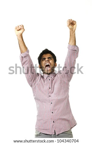 young man cheers, portrait on white background - stock photo