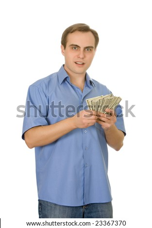 Young man counting money. Isolated on white.
