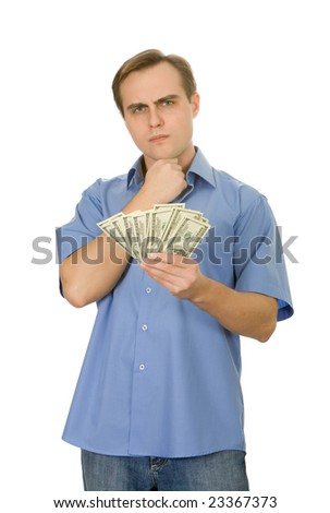 Young man counting money. Isolated on white. - stock photo