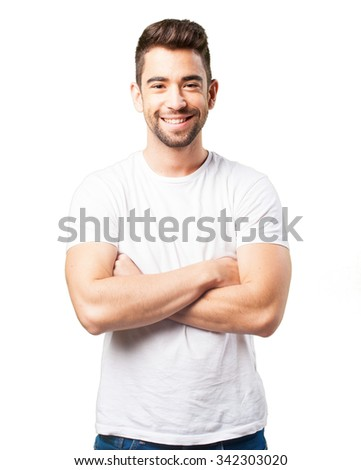 young man crossing arms - stock photo