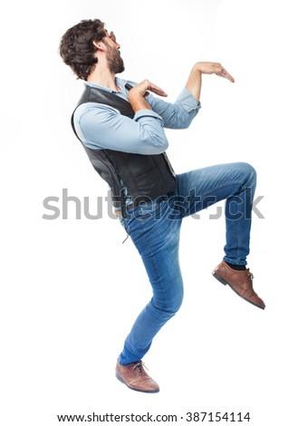 young man dancing - stock photo
