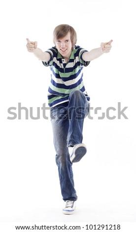 Young man dancing locking or hip-hop - stock photo