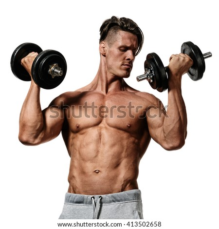 young man does exercises with dumbbells. isolated on white background - stock photo