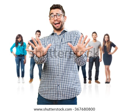 young man doing a stop gesture - stock photo