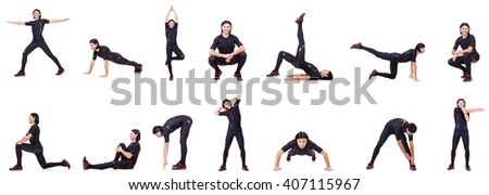 Young man doing exercises on white