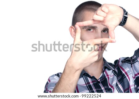 young man doing the hand frame sign isolated on white background - stock photo