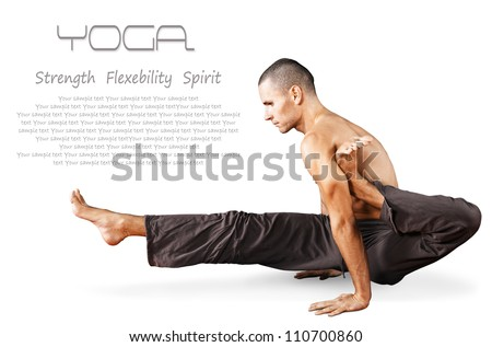 Young man doing yoga pose. Isolated over white background - stock photo