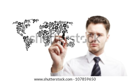young man drawing abstract world map, isolated - stock photo