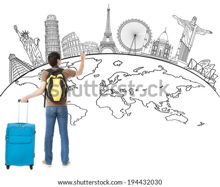 young man  drawing global map and famous landmark  - stock photo