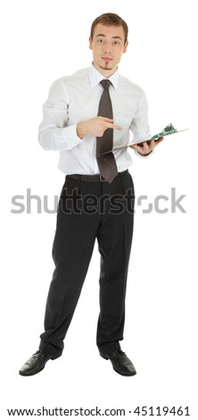 young man dressed in an office with a folder in his hand on a white background