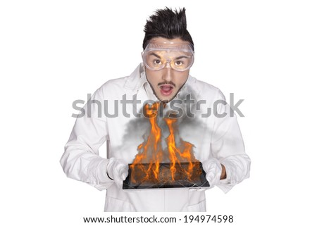 young man electronic technical - stock photo
