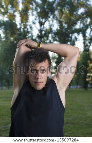 Young man exercise in a park