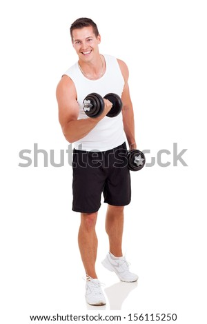 young man exercising with dumbbells on white background