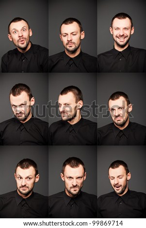 young man face expressions - stock photo