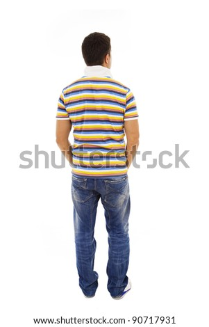 Young man from the back looking at something over a white background - stock photo