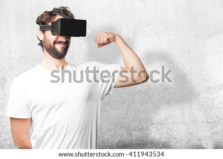 young man funny expression - stock photo