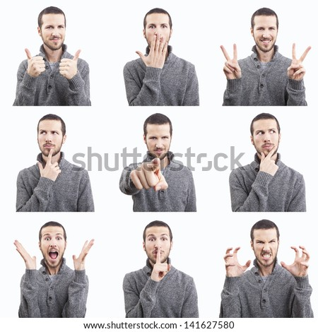 young man funny face expressions composite isolated on white background - stock photo
