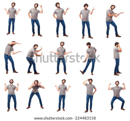 young man gestures and concepts group - stock photo