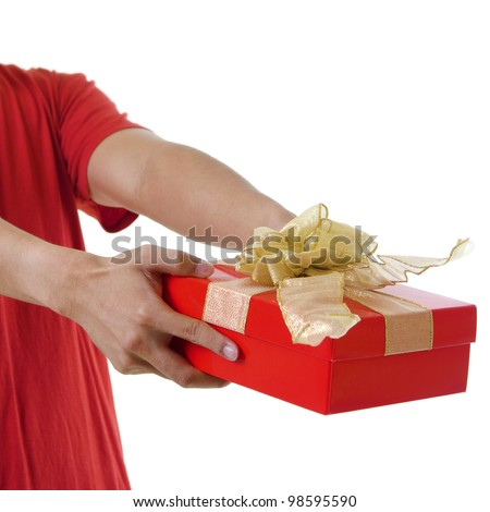 Young man giving a gift box on white background - stock photo